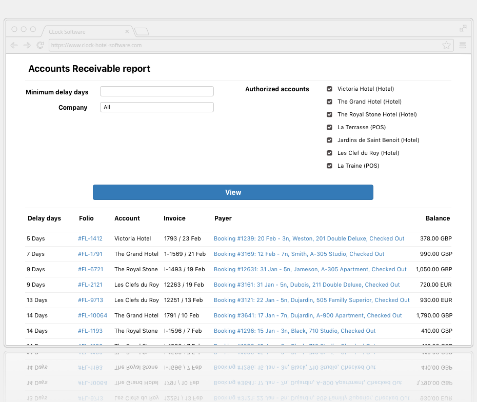 Screenshot: The accounts receivable report for selected properties in Clock CRS