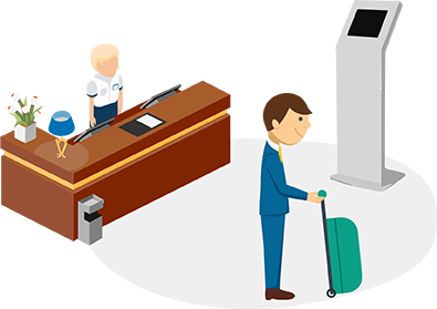 illustration of self-service hotel check-in at a kiosk